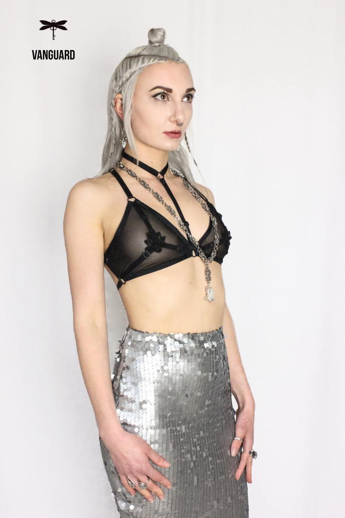 pastie bra and sequin skirt
