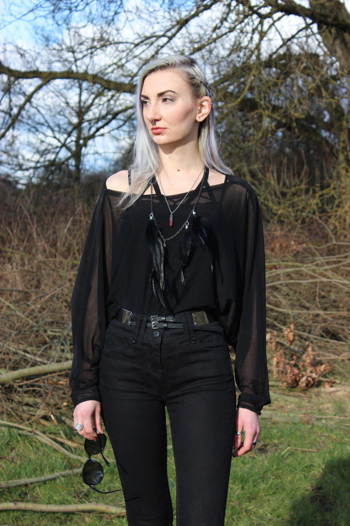 black jeans and sheer batwing top ootd small