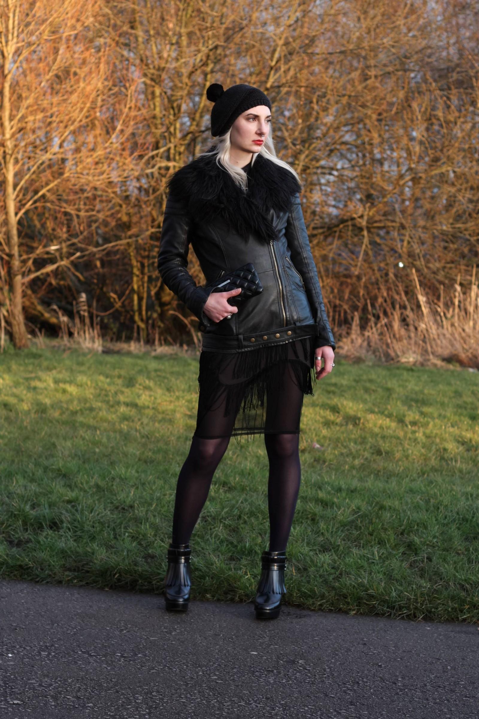dark fashion leather jacket blogger sunset 1